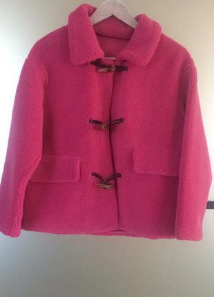 Розовая шуба тедди эко мех. розовая куртка шуба. хс-м