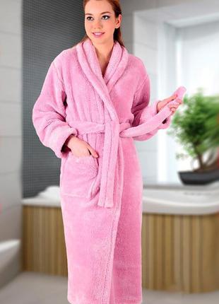 Женский махровый нежно розовый пудровый халат. есть цвета и ра...