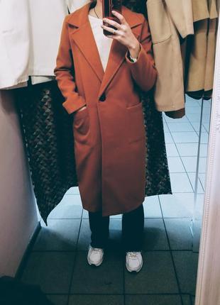 Кирпичное терракотовое кашемировое пальто. пальто демисезонное...
