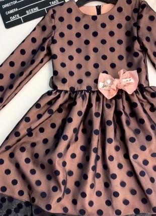 Красивое розовое платье в чёрный горох для девочки.платье с ру...