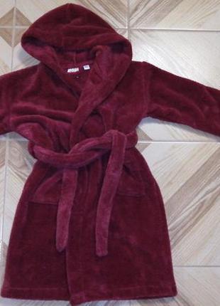Бордовый махровый халат с капюшоном. 6-8лет.есть цвета и размеры