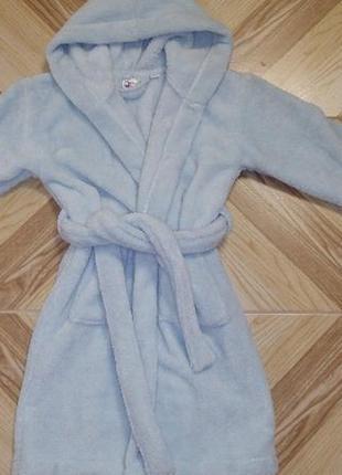Голубой махровый халат с капюшоном. 6-8лет.есть цвета и размеры