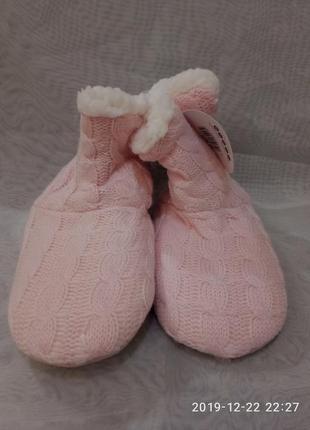 Детские нежные розовые домашние тапочки-сапожки,в наличии цвет...