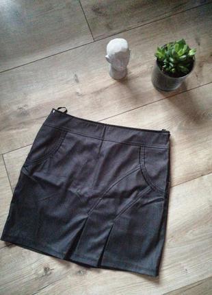Серая с мелким люрексом юбка. короткая классическая юбка м-л(4...