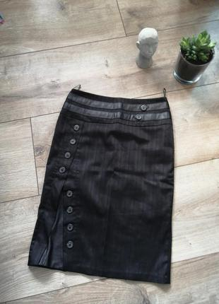Черная юбка миди с вставками из эко кожи. юбка карандаш с-м(36...