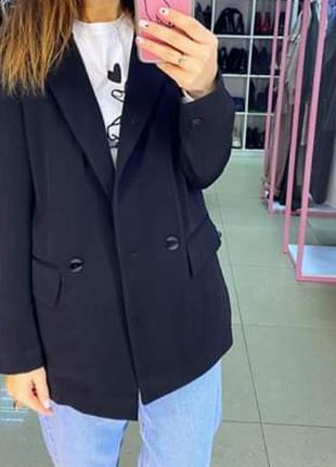 Черный пиджак свободного фасона. жакет чёрный oversize мужской...
