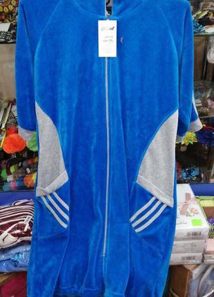 Женский синий велюровый халат. халат большой размер с капюшоно...