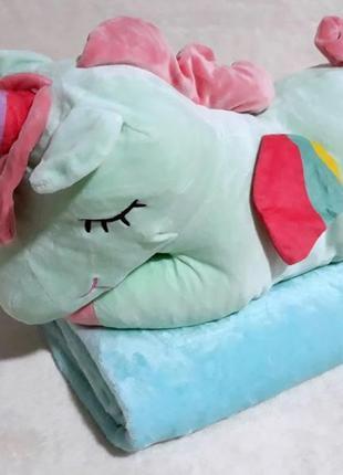 Игрушка подушка единорог 🦄 и плед. подарок ребёнку. есть цвета
