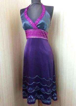 Платье сарафан натуральный шелк расшитый бисером s/m Monsoon