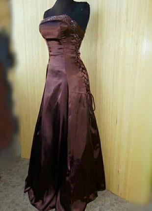 Вечернее атласное платье в пол с фатином с корсажем Yves CalParis