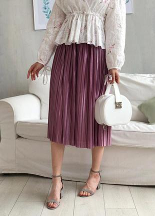 Легкая миди юбка плиссе на резинке. розовая юбка плиссе на рез...