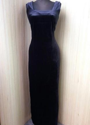 Чёрное вечернее платье велюр с разрезом