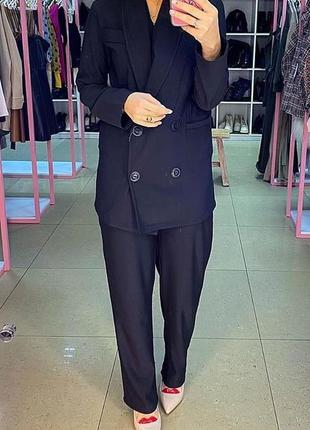 Базовый черный брючный костюм. костюм брючный оверсайз брюки и...