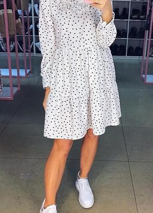 Базовое лёгкое белое в горох мини платье. нежное мини платье в...