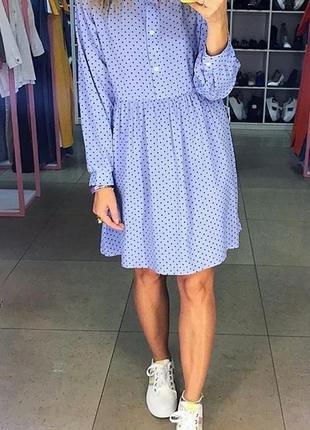 Базовое лёгкое голубое в горох мини платье. нежное мини платье...