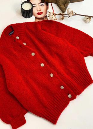 Базовый красный кардиган. кофта на пуговках красная. хс-л.