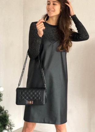 Чёрный кожаный сарафан на брителях. короткое платье эко кожа с...