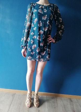 Шифоновое изумрудное мини платье в цветы. платье короткое в цв...