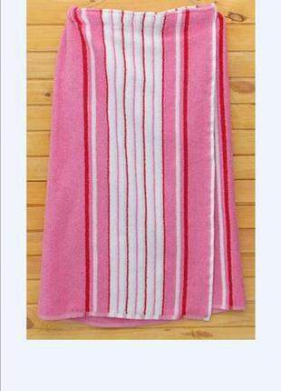 Килт-парео банник махровый 90х150 см розовый, в наличии расцветки