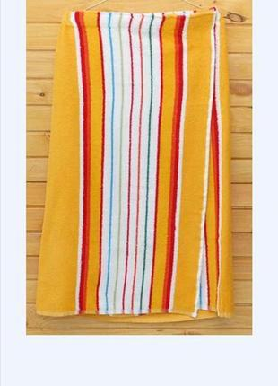 Килт-парео банник махровый 90х150 см оранжевый полосатый, в на...