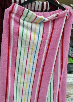 Килт-парео банник махровый 90х150 см полосатый розовый, в нали...