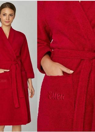 Женский махровый халат. хлопковый красный халат на весну-лето....