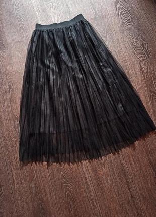 Юбка плиссе черная zara trafaluc на подкладке