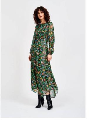 Длинное нарядное платье сукня с люрексом в пол с рукавами