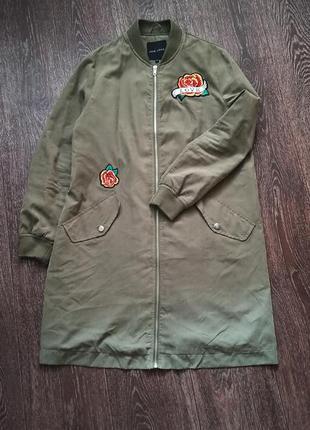 Бомбер-куртка new look цвет хакки с вышивкой р.12