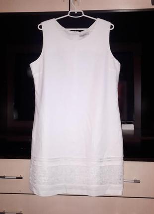 Нарядное белое летнее платье лён раз.xxl
