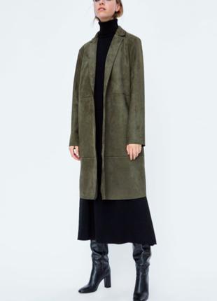 Zara замшевое пальто на кнопке накидка