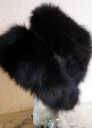 Кожаная шапка с нат. мехом