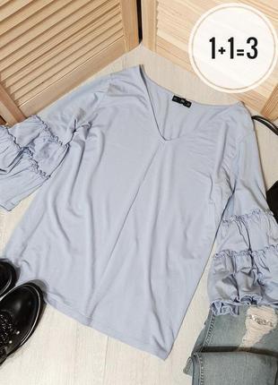 F&f базовая блуза l-xl голубая рукав волан свободная прямая бл...