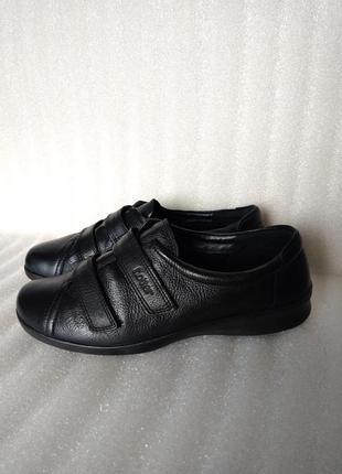 Р 6 1/2 // 39-40 26 см черные кожаные закрытые туфли на липучк...