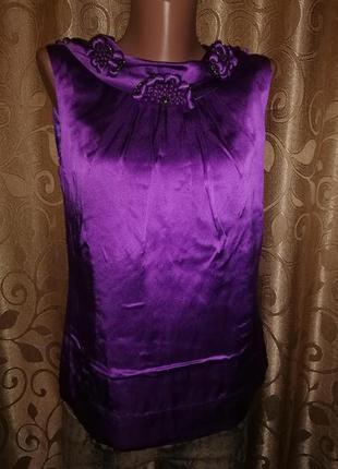🌺🎀🌺нарядная шелковая фиолетовая майка, топ, блузка 100% silk p...