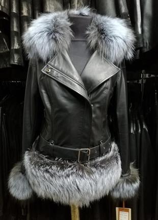 Кожаная куртка косуха с мехом чернобурки