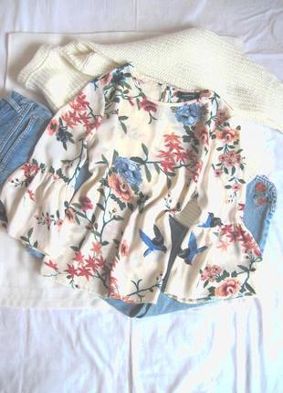 Кремовая блуза принт цветы и птицы atmosphere #розвантажуюсь