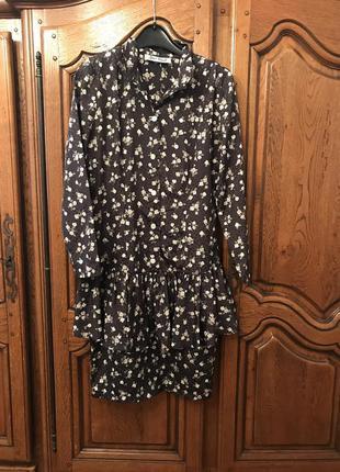 Платье с воланами,в цветочный принт и горошек