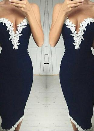 Платье на тонких бретелях с кружевом размер s,m
