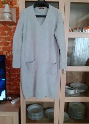 Очень стильное и тёплое с карманами платье большого размера