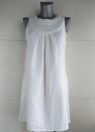 Новое льняной платье next  белого цвета карманам