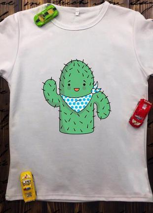 Мужская футболка с принтом - кактус