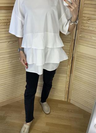 Белая хлопковая футболка оверсайз zara