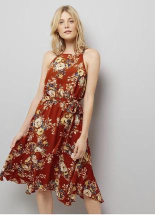 Платье миди с асимметричным низом под пояс new look размер 16, 54
