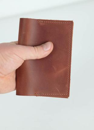 Кожаная обложка для паспорта из натуральной винтажной кожи цве...