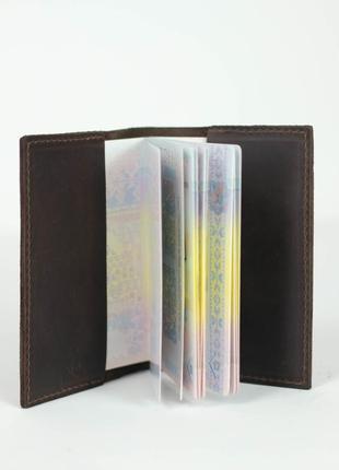 Кожаная обложка для паспорта из натуральной винтажной кожи шок...