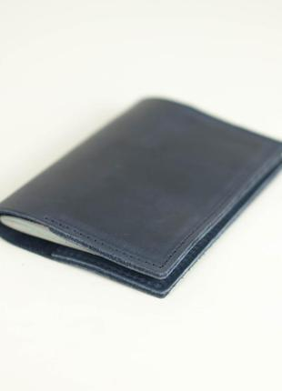 Кожаная обложка для паспорта из натуральной винтажной кожи синяя
