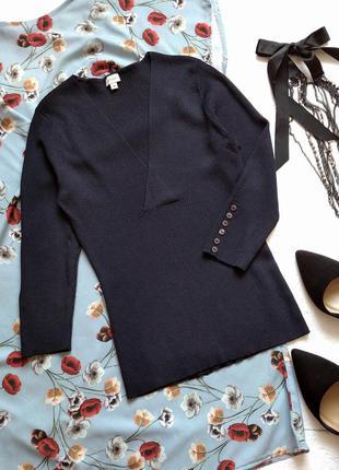 Стильная базовая кофточка в рубчик, свитер