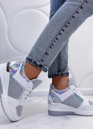 Серебристые кроссовки на платформе,белые сникерсы,белые кроссо...