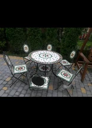 Стіл кований. Стол круглый. Набор садовой мебели.